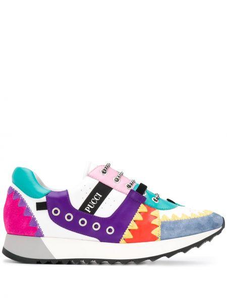 Skórzane sneakersy karmazynowy z logo Emilio Pucci
