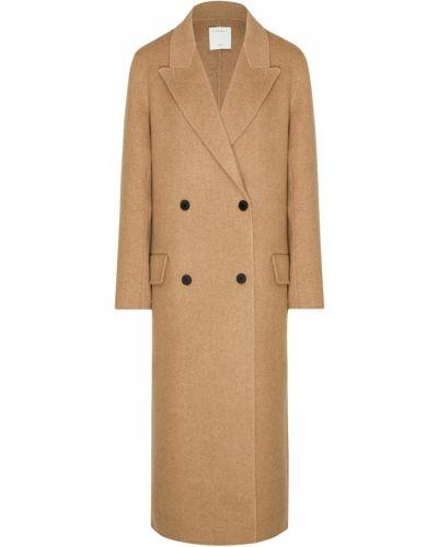 Пальто бежевое шерстяное Sandro
