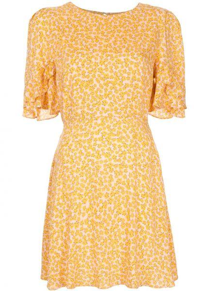Желтое платье мини из вискозы с круглым вырезом круглое Auguste