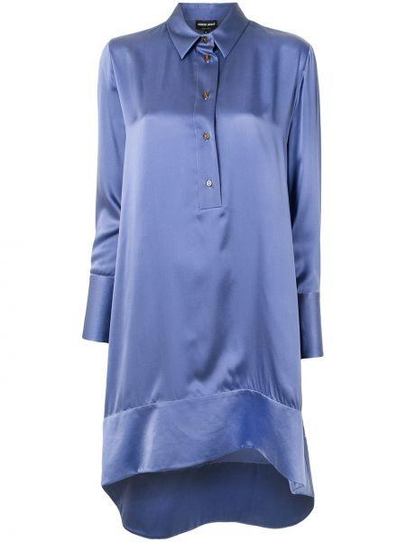 Фиолетовая шелковая рубашка с воротником Giorgio Armani