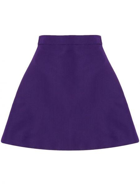 Шелковая прямая фиолетовая юбка мини на молнии Christian Siriano
