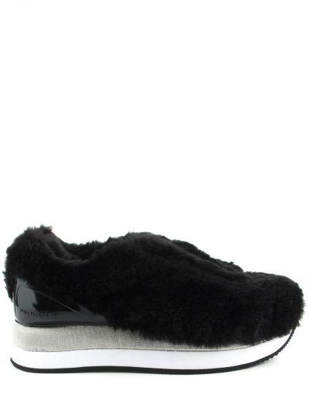Кожаные комбинированные черные кроссовки Premiata