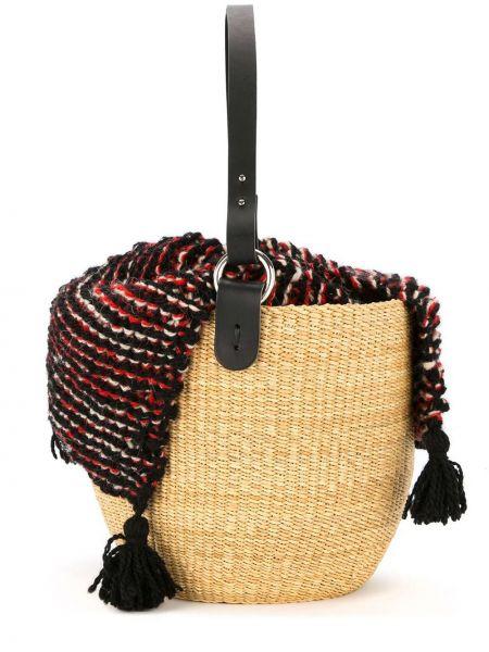 Соломенная сумка-тоут с кисточками Muun