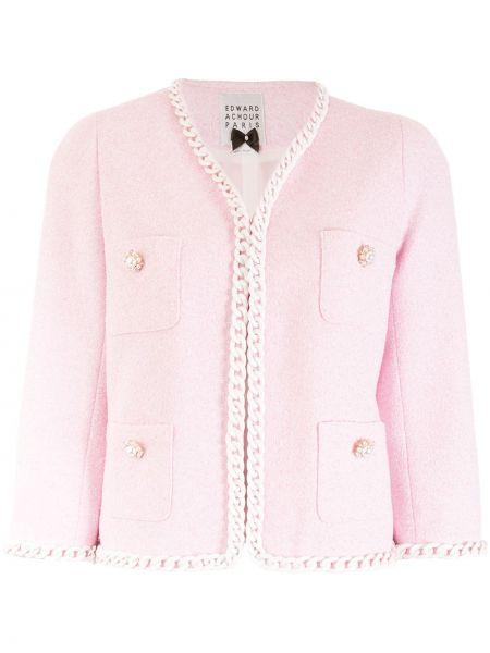 Розовый пиджак твидовый с карманами Edward Achour Paris
