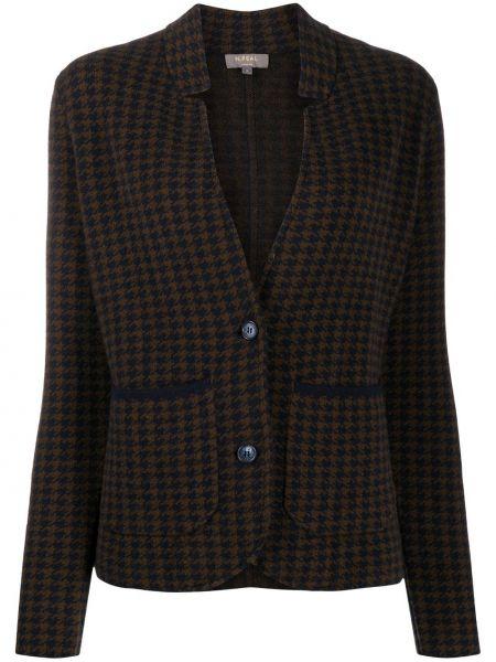 Кашемировый коричневый удлиненный пиджак на пуговицах N.peal