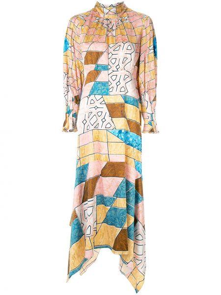 Платье макси с рукавами с принтом Peter Pilotto