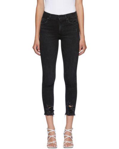 Черные укороченные джинсы с манжетами стрейч Agolde