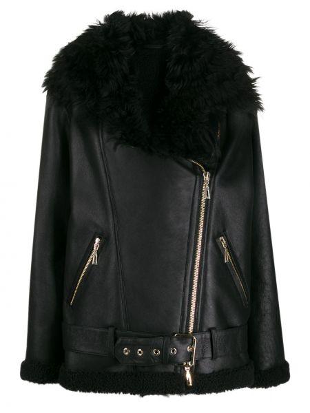 Черная кожаная куртка на молнии Amen
