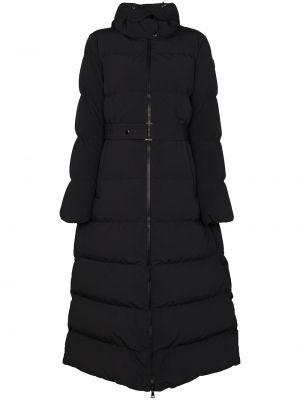 Puchaty czarny płaszcz Moncler