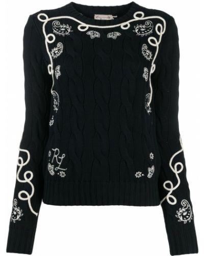 Czarne polo z długimi rękawami z haftem Polo Ralph Lauren