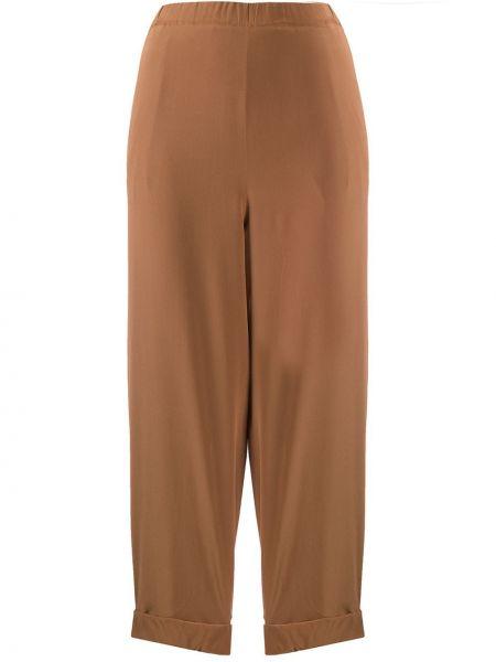 Шелковые коричневые укороченные брюки с поясом с отворотом Rochas