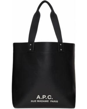 Кожаная сумка шоппер с леопардовым принтом A.p.c.
