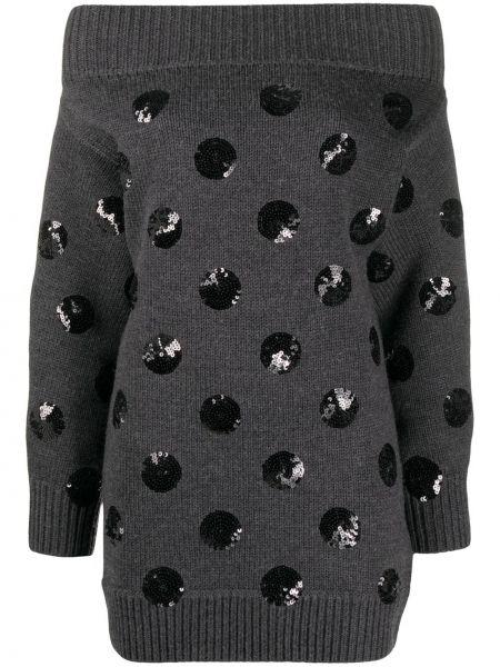 Вязаное серое платье с пайетками в рубчик Monse