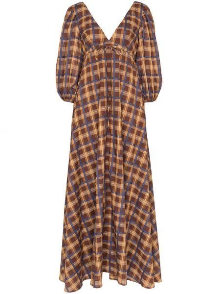 Платье макси с V-образным вырезом с поясом Staud