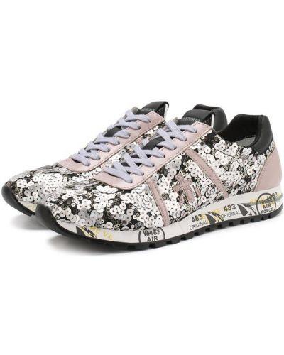 Кроссовки на шнуровке серебряного цвета Premiata