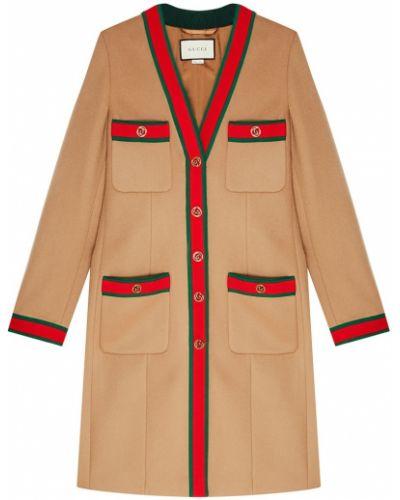 Пальто однобортное с накладными карманами Gucci