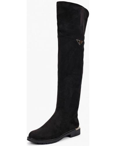 Ботфорты на каблуке замшевые черные Max Shoes