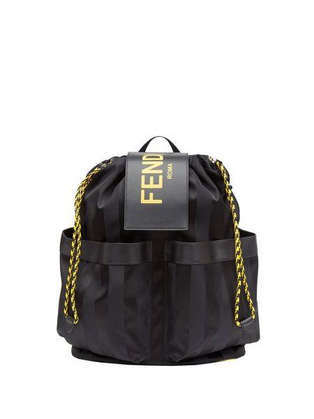 Czarny plecak skórzany w paski Fendi