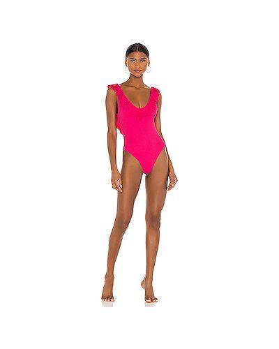 Розовый слитный купальник с оборками Eberjey