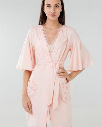Розовый халат домашний Ora