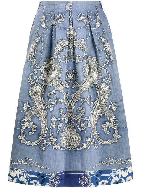 Плиссированная юбка миди синяя Etro