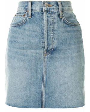 Синяя классическая с завышенной талией юбка мини с поясом Re/done