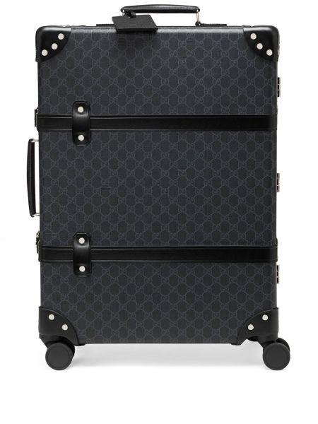 Czarna walizka skórzana z printem Gucci