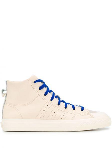 Wysoki sneakersy koronkowy sznurowany bawełniany Adidas By Pharrell Williams