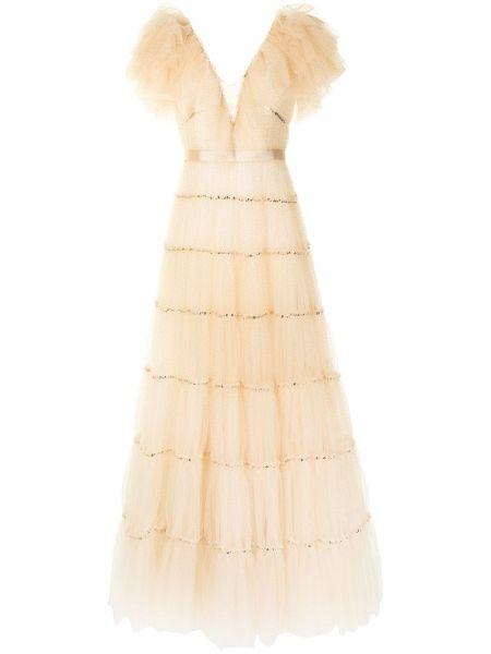 Оранжевое вечернее платье с пайетками из фатина Jenny Packham