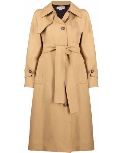Бежевое пальто на пуговицах с манжетами Victoria Beckham