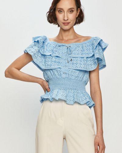 Niebieska bluzka z falbanami bawełniana Guess