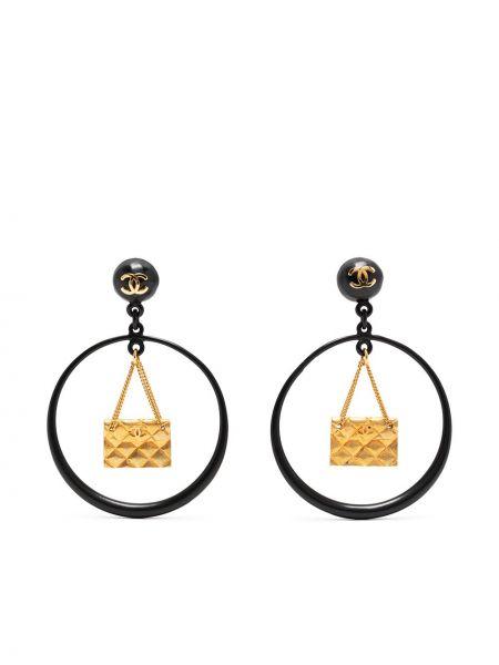 Czarne złote kolczyki sztyfty Chanel Pre-owned