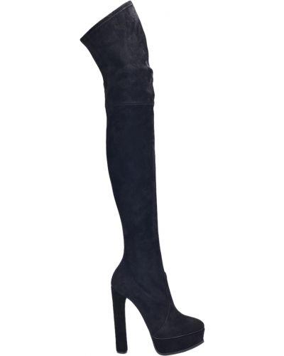 Ботфорты на каблуке кожаные замшевые Casadei