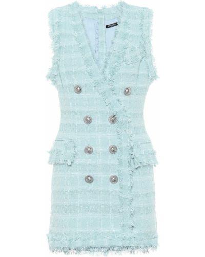 Платье мини льняное из вискозы Balmain