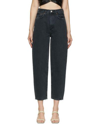 Czarny jeansy na wysokości z kieszeniami Agolde