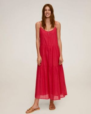 Облегающее платье на пуговицах с оборками Mango
