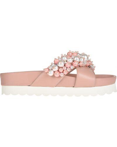 Розовые шлепанцы на платформе Eddy Daniele