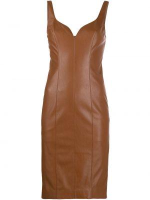 Brązowa sukienka skórzana bez rękawów Pinko