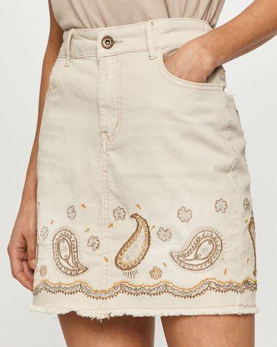Beżowa spódnica mini bawełniana na co dzień Desigual