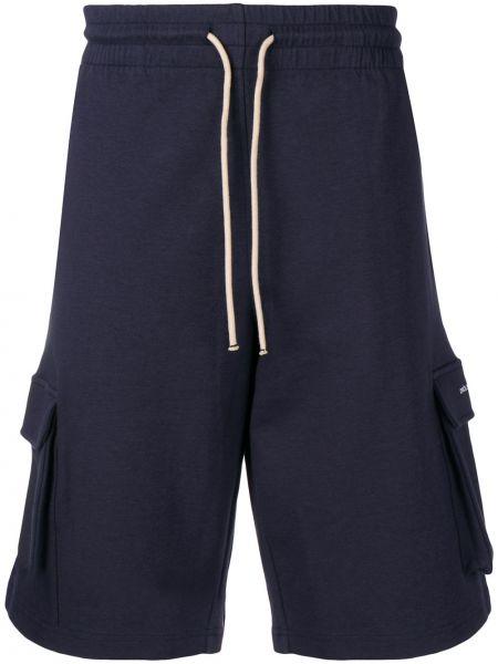 Niebieskie krótkie szorty z haftem bawełniane Drole De Monsieur
