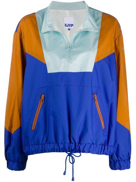 С кулиской с рукавами пуловер мятный с карманами Sjyp