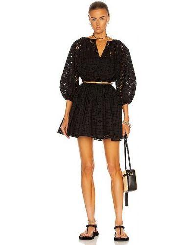 Хлопковое черное платье мини с поясом Matteau