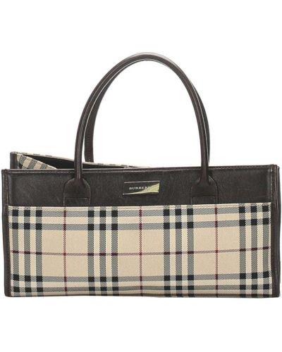 Парусиновая серебряная сумка-тоут на молнии с карманами Burberry Pre-owned