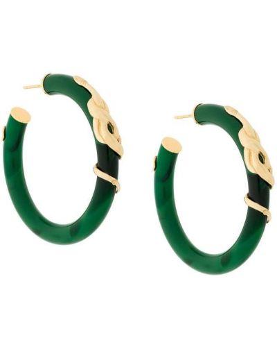 Золотые серьги с малахитом зеленый Gas Bijoux