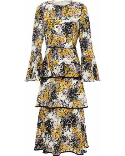 Бежевое платье миди с подкладкой из крепа Mikael Aghal
