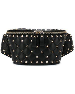 Кожаная сумка поясная черная Valentino