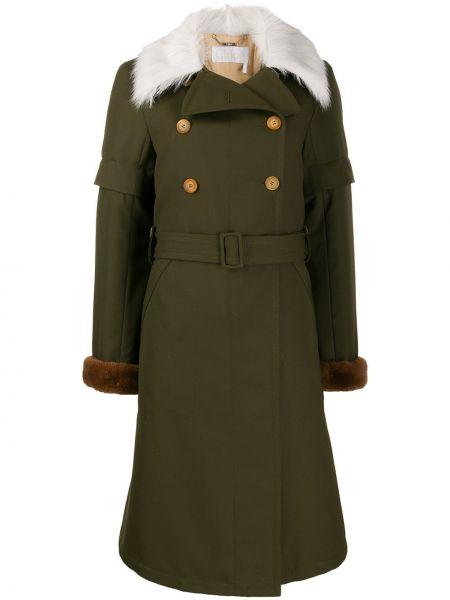 Зеленое шерстяное пальто двубортное Chloé