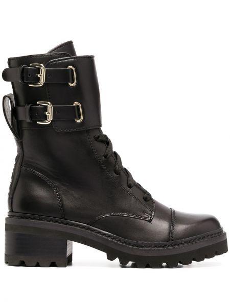 Кожаные ботинки - черные Dkny