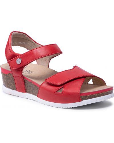 Sandały skórzane - czerwone Ara