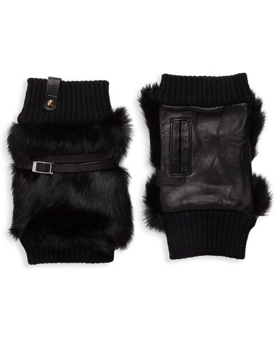 Rękawiczki bez palców wełniane - czarne Furlux